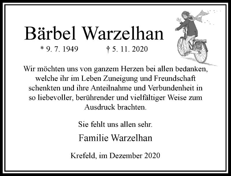 Traueranzeige für Bärbel Warzelhan vom 12.12.2020 aus Rheinische Post