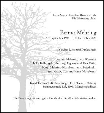 Traueranzeige von Benno Mehring von Rheinische Post