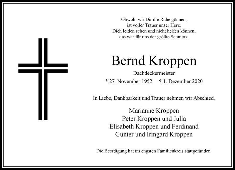 Traueranzeige für Bernd Kroppen vom 30.12.2020 aus Rheinische Post