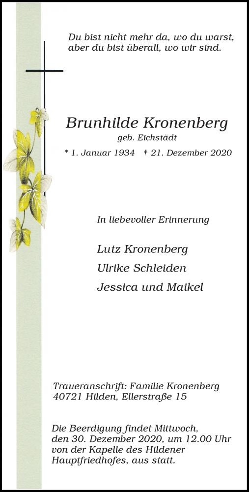 Traueranzeige für Brunhilde Kronenberg vom 29.12.2020 aus Rheinische Post
