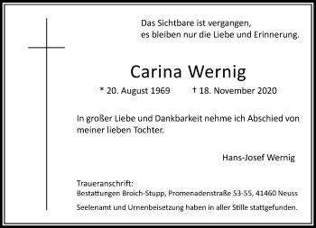 Traueranzeige von Carina Wernig von Rheinische Post