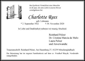 Traueranzeige von Charlotte Rees von Rheinische Post