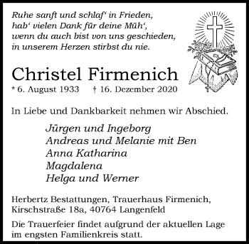 Traueranzeige von Christel Firmenich von Rheinische Post