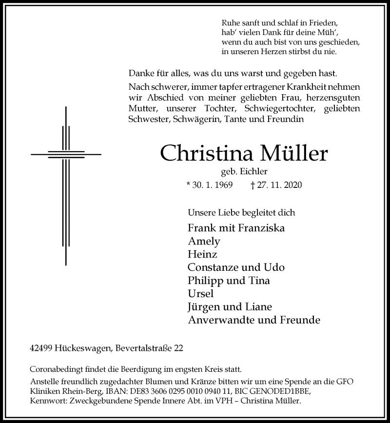 Traueranzeige für Christina Müller vom 02.12.2020 aus Rheinische Post
