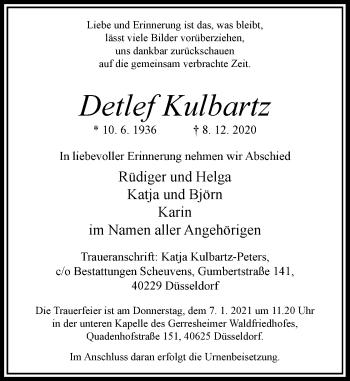 Traueranzeige von Detlef Kulbartz von Rheinische Post