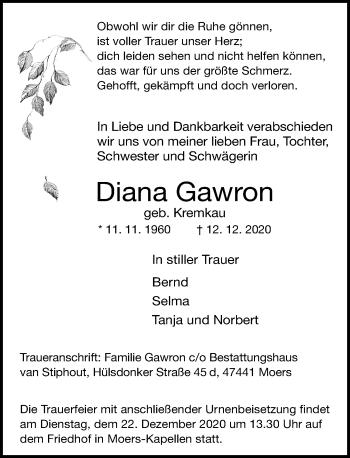 Traueranzeige von Diana Gawron von Rheinische Post