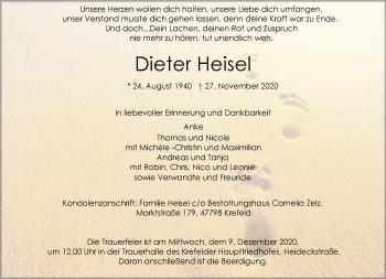 Traueranzeige von Dieter Heisel von Rheinische Post