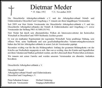 Traueranzeige von Dietmar Meder von Rheinische Post