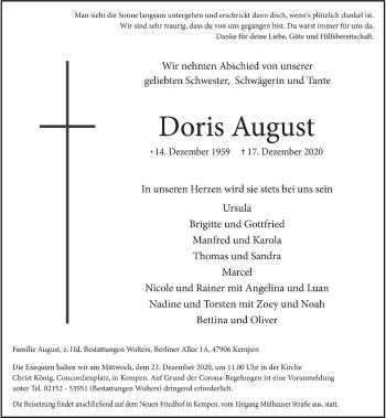 Traueranzeige von Doris August von Rheinische Post