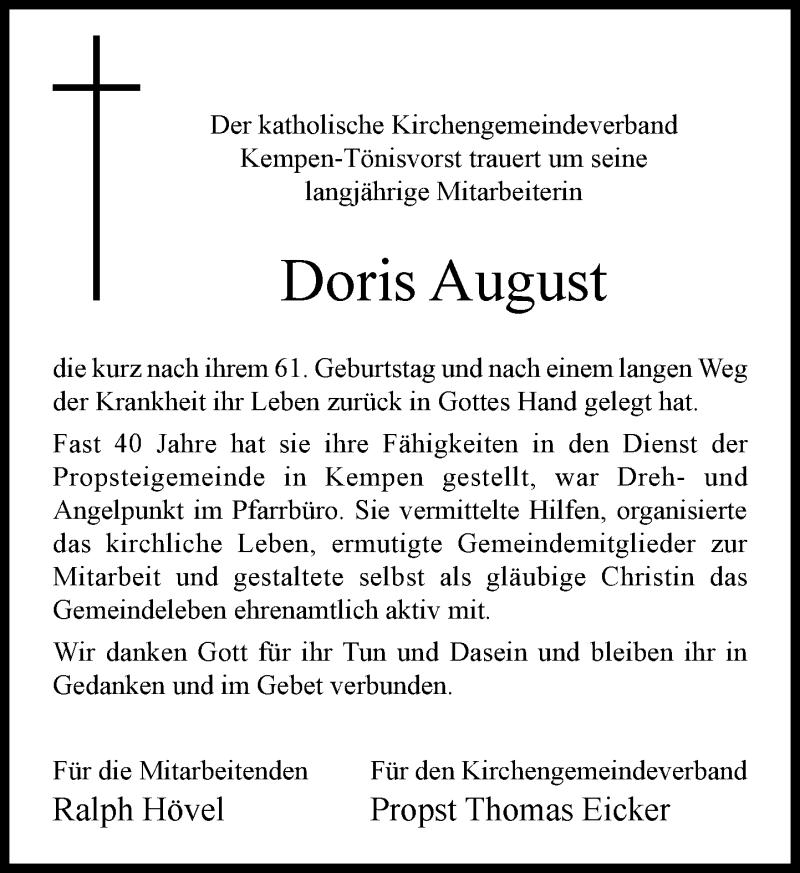 Traueranzeige für Doris August vom 23.12.2020 aus Rheinische Post