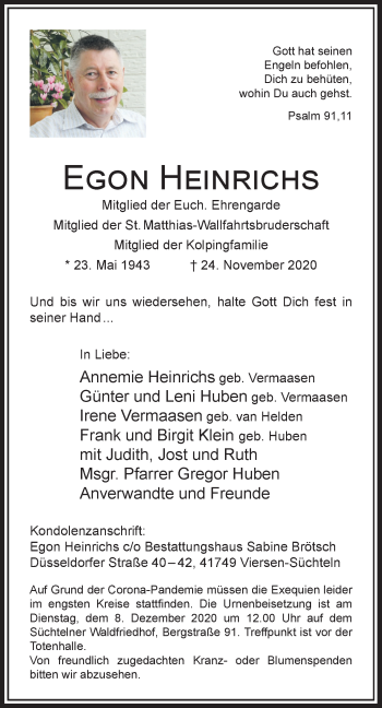 Traueranzeige von Egon Heinrichs von Rheinische Post