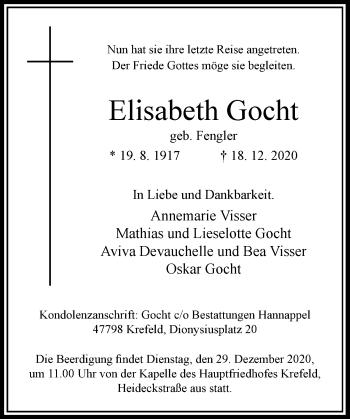 Traueranzeige von Elisabeth Gocht von Rheinische Post