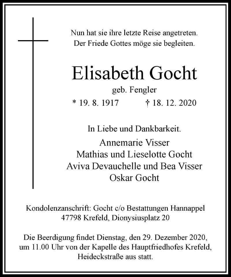 Traueranzeige für Elisabeth Gocht vom 24.12.2020 aus Rheinische Post