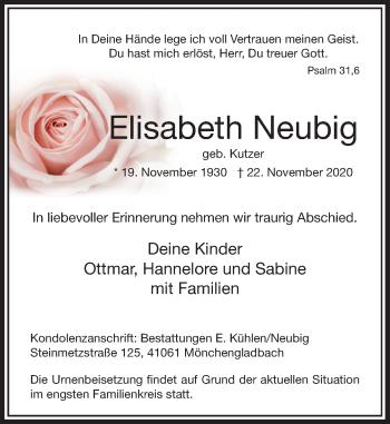 Traueranzeige von Elisabeth Neubig von Rheinische Post