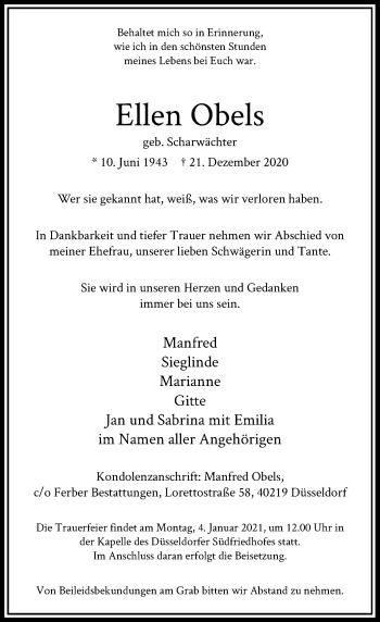 Traueranzeige von Ellen Obels von Rheinische Post