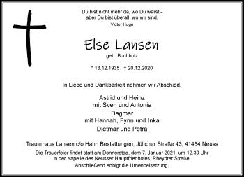 Traueranzeige von Else Lansen von Rheinische Post