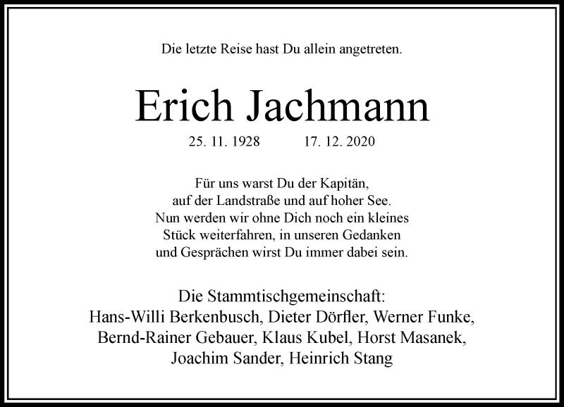 Traueranzeige für Erich Jachmann vom 28.12.2020 aus Rheinische Post