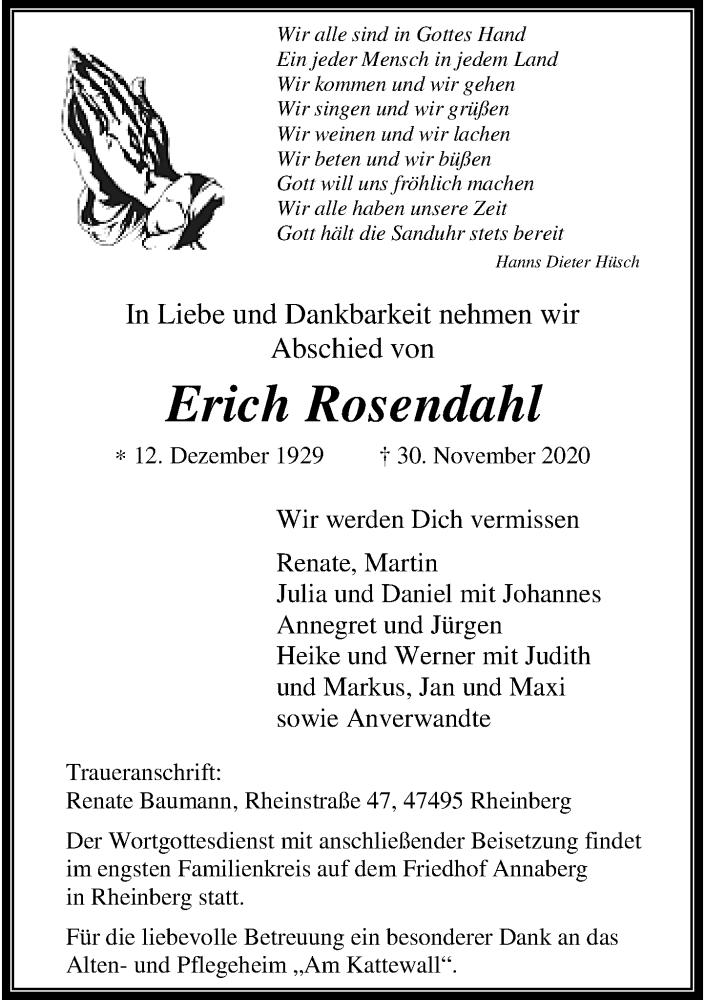 Traueranzeige für Erich Rosendahl vom 02.12.2020 aus Rheinische Post