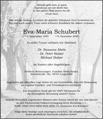 Traueranzeige von Eva-Maria Schubert von Rheinische Post