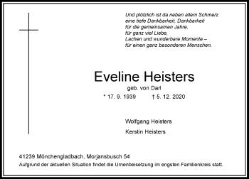 Traueranzeige von Eveline Heisters von Rheinische Post
