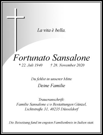 Traueranzeige von Fortunato Sansalone von Rheinische Post