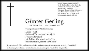 Traueranzeige von Günter Gerling von Rheinische Post