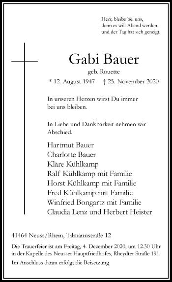 Traueranzeige von Gabi Bauer von Rheinische Post