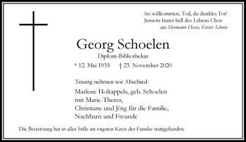 Traueranzeige von Georg Schoelen von Rheinische Post