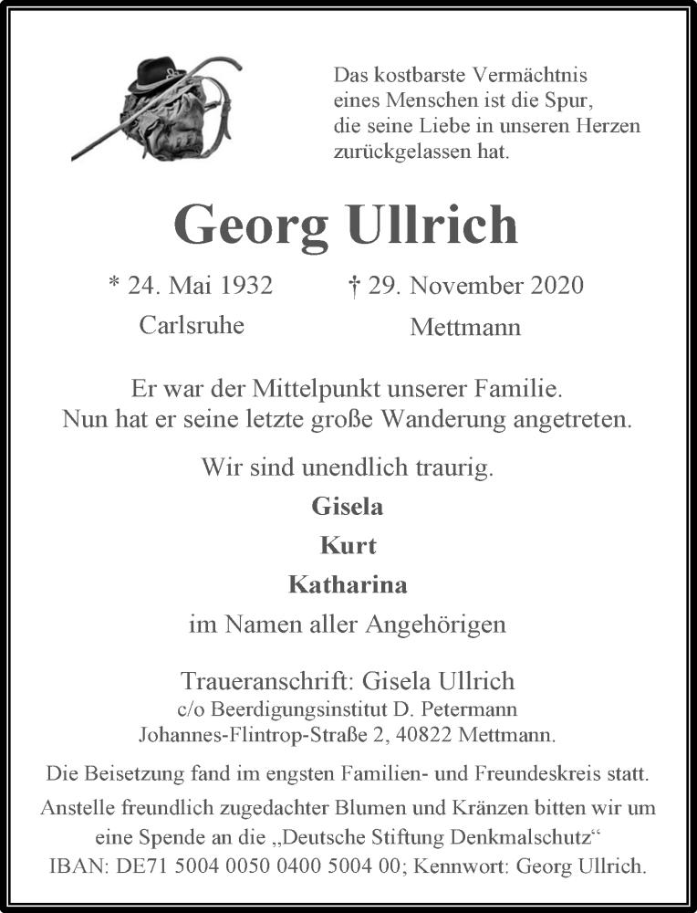 Traueranzeige für Georg Ullrich vom 19.12.2020 aus Rheinische Post