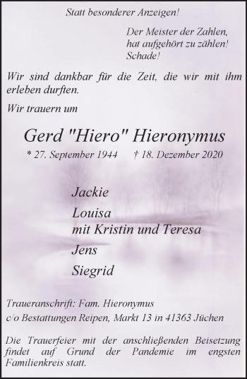 Traueranzeige von Gerd  Hieronymus von Rheinische Post