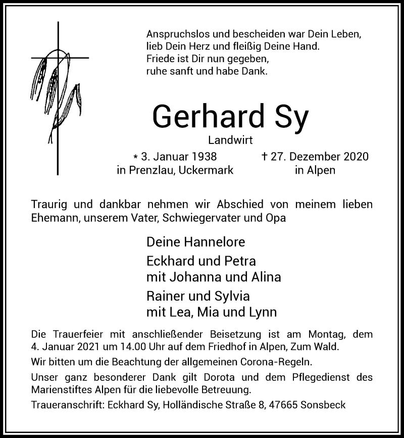 Traueranzeige für Gerhard Sy vom 02.01.2021 aus Rheinische Post