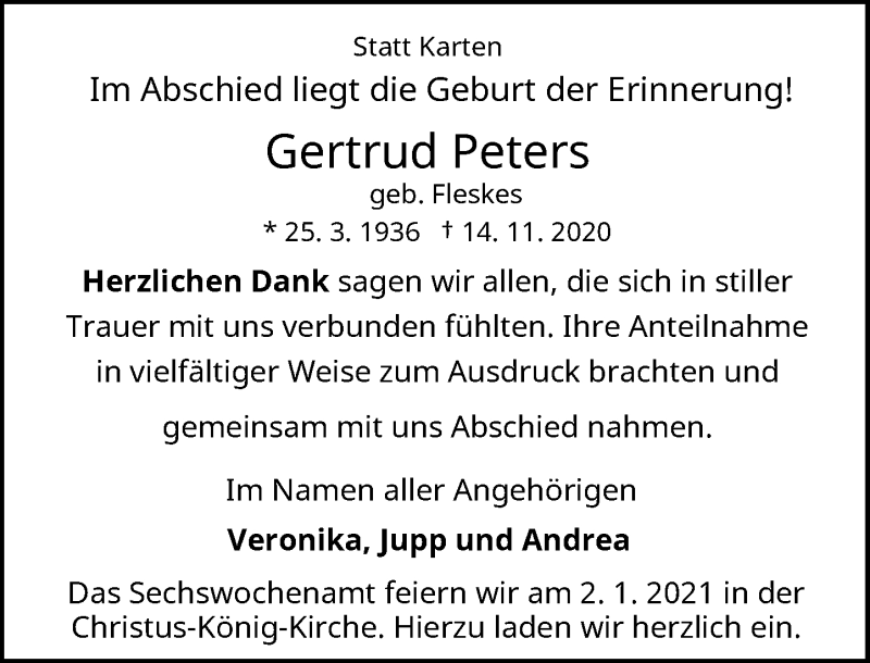 Traueranzeige für Gertrud Peters vom 29.12.2020 aus Rheinische Post