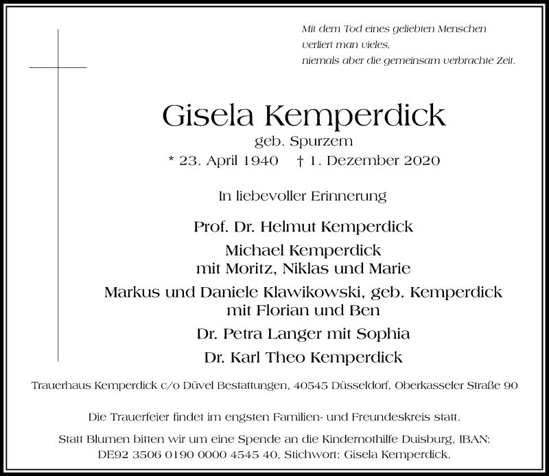 Traueranzeige für Gisela Kemperdick vom 05.12.2020 aus Rheinische Post