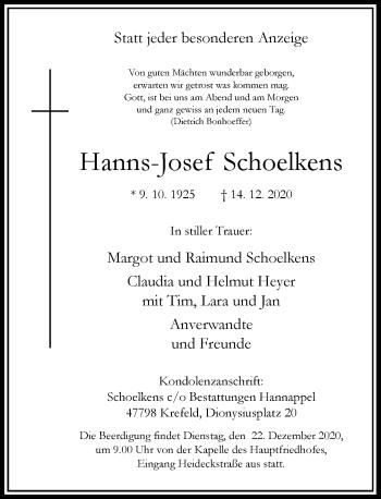 Traueranzeige von Hanns-Josef Schoelkens von Rheinische Post