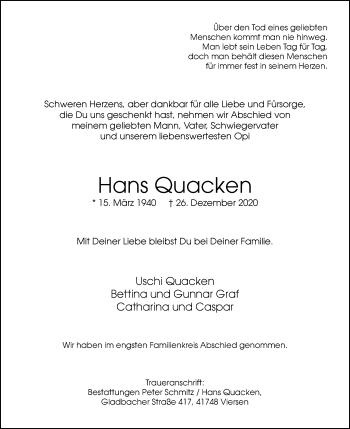 Traueranzeige von Hans Quacken von Rheinische Post