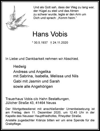 Traueranzeige von Hans Vobis von Rheinische Post