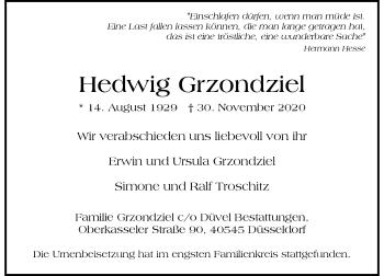 Traueranzeige von Hedwig Grzondziel von Rheinische Post