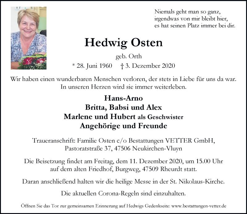 Traueranzeige für Hedwig Osten vom 05.12.2020 aus Rheinische Post