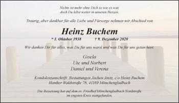 Traueranzeige von Heinz Buchem von Rheinische Post