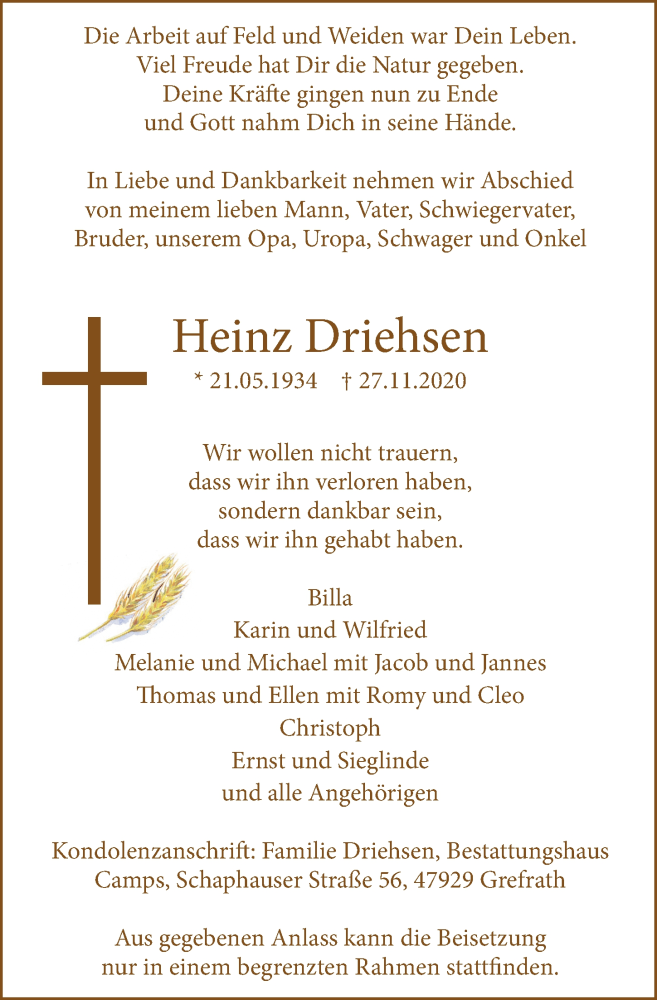 Traueranzeige für Heinz Driehsen vom 02.12.2020 aus Rheinische Post