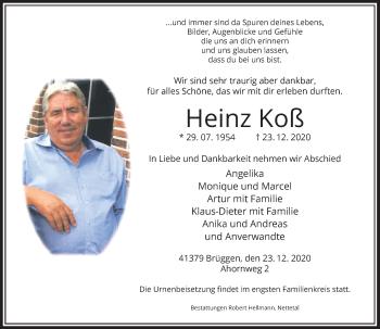 Traueranzeige von Heinz Koß von Rheinische Post