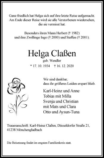 Traueranzeige von Helga Claßen von Rheinische Post