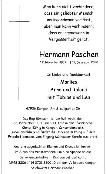 Traueranzeige von Hermann Paschen von Rheinische Post