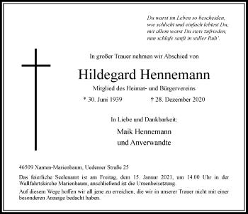 Traueranzeige von Hildegard Hennemann von Rheinische Post