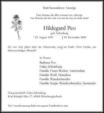 Traueranzeige von Hildegard Peo von Rheinische Post