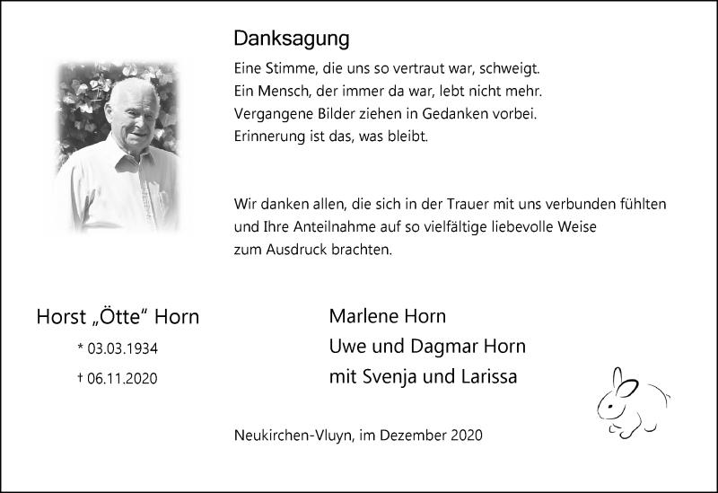 Traueranzeige für Horst Horn vom 24.12.2020 aus Rheinische Post