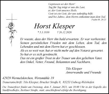 Traueranzeige von Horst Klesper von Rheinische Post