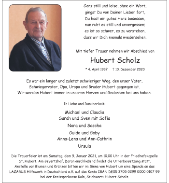 Traueranzeige von Hubert Scholz von Rheinische Post