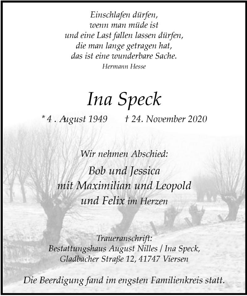 Traueranzeige für Ina Speck vom 05.12.2020 aus Rheinische Post