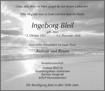 Traueranzeige von Ingeborg Bleil von Rheinische Post